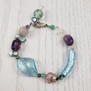 Jewelry - Blue Dichroic Art Glass Blue Strand Bracelet Pink